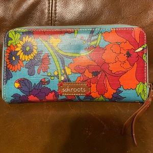 Sakroots Large Floral ZIP Around Wallet NWOT